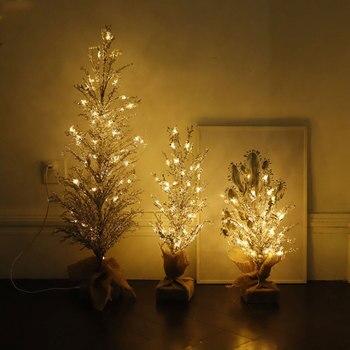 Crystal Ice Grain Tree LED Night Lights USB Power Home Decoration Tree Table Lamp Atmosphere Light Home Wedding Indoor Lighting