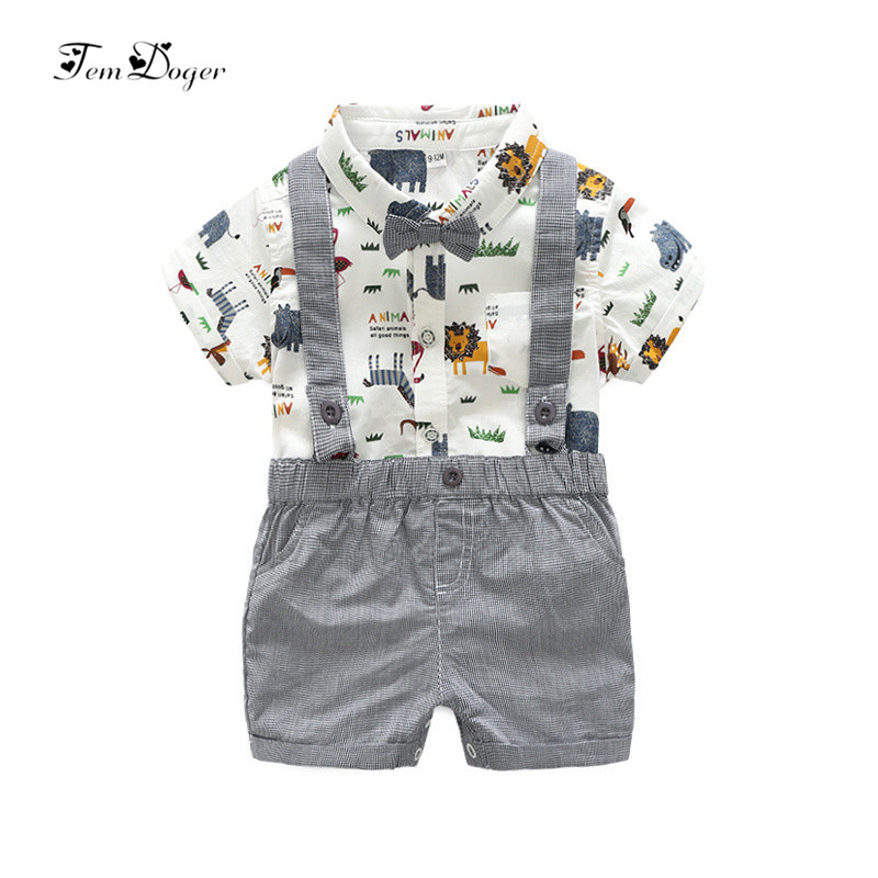 Tem Doge Newborn Baby Boy Clothes 2017 Summer Infant Boy Clothing Set Short Sleeves Graffiti Shirt Rompers Overalls 2Pcs Outfits