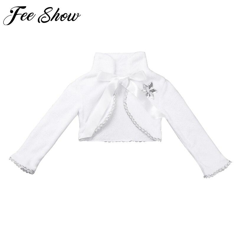 Симпатичная накидка из искусственного меха с длинными рукавами и цветами для девочек, зимняя теплая куртка с запахом, детское Болеро для св...
