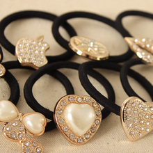 Korean Original Bow Pearls Flowers Rubber Band Casual Hair Ring for Women Hair Accessories 2014 Christmas