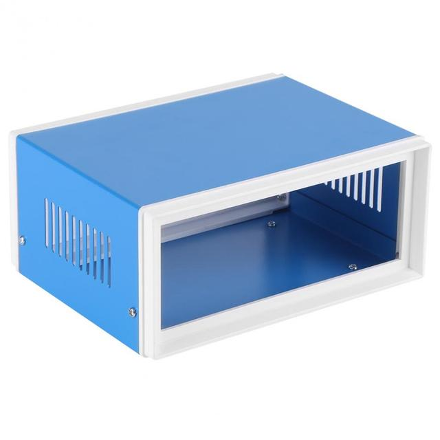 Blue Metal Enclosure Project Case DIY Junction Box Accessories without Front and Back Panels 170 x 130 x 80mm