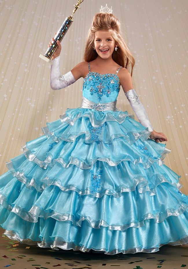 Fashion Spafhetti Straps Flower Girl Dress Little Princess Ball Gown For Wedding Party Pageant Stage