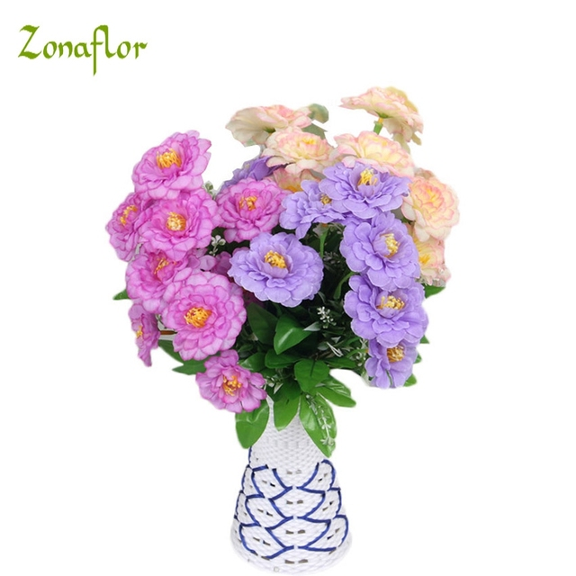Zonaflor Mini Artificial Rose Daisy Flowers Bouquet Wedding Decoration Silk Flower For DIY Fake Table Plant