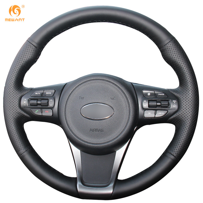 MEWANT Black Genuine Leather Car Steering Wheel Cover for Kia Sorento 2015 runba ice silk steering wheel cover sets with red thread