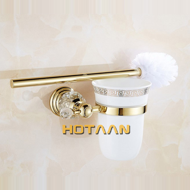 Luxury Crystal Gold Color Bathroom Accessories Set Gold Polished Brass Bath Hardware Set Wall Mounted Bathroom Products banheiro