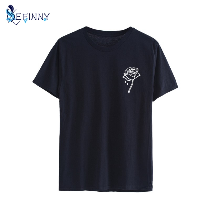 Rose Flower Pocket Print Women Tshirt Cotton Casual Funny T-shirt For Lady Top Tee