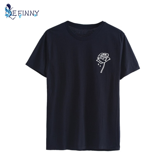 45a118a4fb056 Rose Flower Pocket Print Women Tshirt Cotton Casual Funny T-shirt For Lady  Top Tee