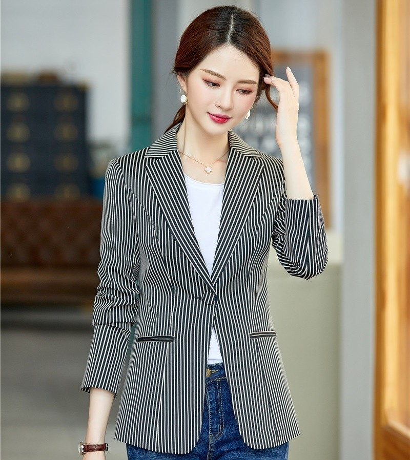 Formal Autumn Winter Women Business Blazers And Jackets Coat Fashion Striped Casual Styles Ladies OL Blaser Tops Clothes