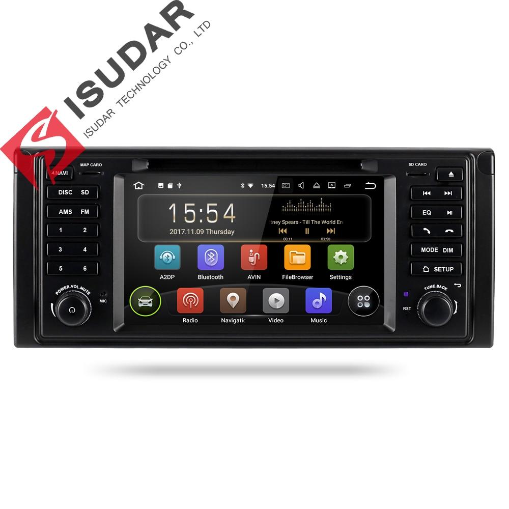 все цены на Isudar Car Multimedia System Android 8.1 1 Din Automotivo DVD For BMW 5 Series/X5 E53 E39 GPS Radio FM Quad Core 2+16GB USB DVR онлайн
