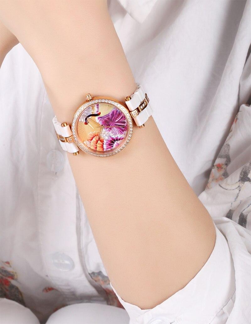 TIME100 Уникальные Керамические женские Наручные Часы Трехмерная Кран Шаблон Кварцевые Часы Керамические Ремешок Дамы ЧАСЫ - 6