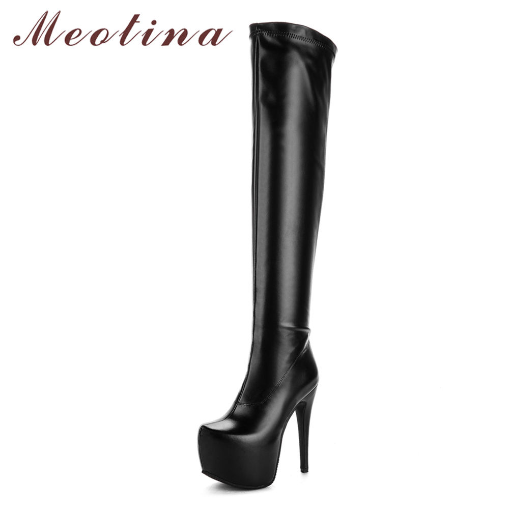 Meotina Women Shoes Boots Platform Stiletto Over-The-Knee-Boots Super-High-Heel Sexy