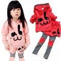 Дети девочки устанавливает ребенок кролик шаблон топы + брюки одежду с длинным рукавом 2 шт. устанавливает 1-6Y