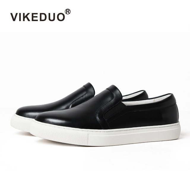 79383837cfa0 Vikeduo New Fashion Black Womens Casual Shoes Loafers Round Toe Female  Footwear Autumn Ladies Girls Flat Shoes Leather Moccasin