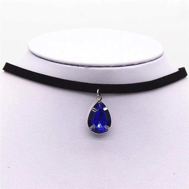 Black Velvet Ribbon Water Drop  Chokers