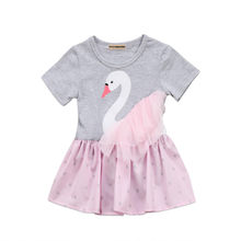 Newborn Baby Girls Infant Lace Swan Print Tutu Mini Dress Cotton Polka Dot Tulle Party Pageant Dresses Vestidos Clothes Sundress(China)