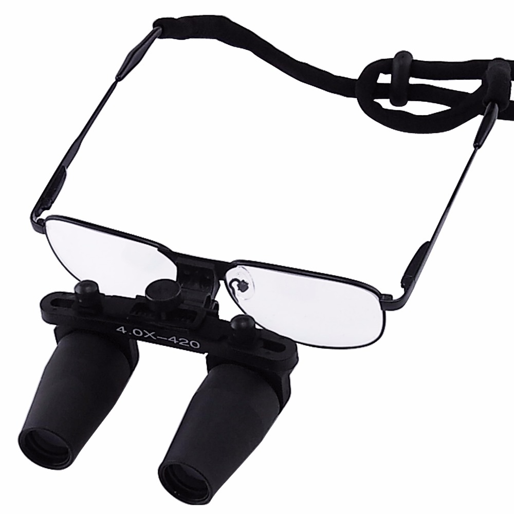 все цены на 4.0x 4x Magnification Nickel Alloy Frame Binocular Dental Loupes Surgical Medical Dentistry Prismatic Keplerian Style 420mm онлайн