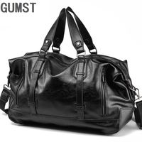 GUMST Men Handbag Leather Large Capacity Travel Bag Men Shoulder Bag Male Travel Duffle Tote Bag Casual Messenger Crossbody Bags