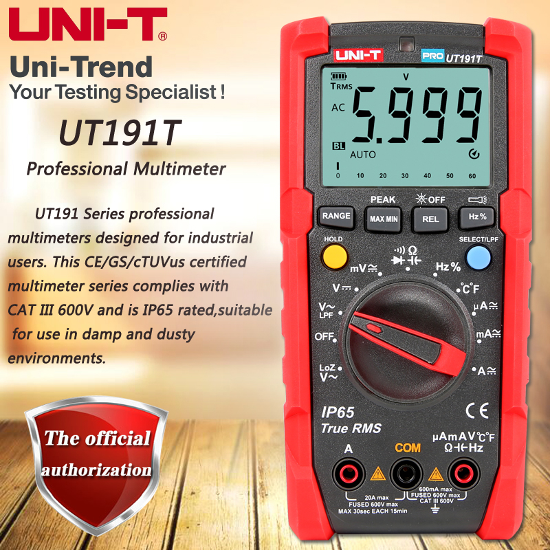 UNI T UT191T Professional Multimeter true RMS IP65 waterproof dustproof digital multimeter temperature LoZ voltage measurement