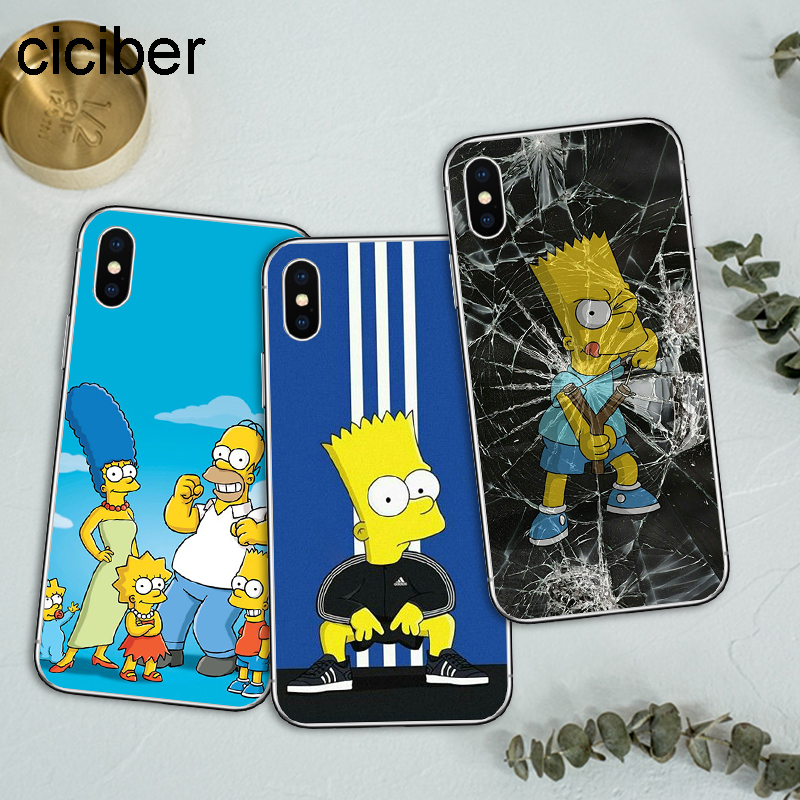 new product 053d2 dd190 The Simpsons Cartoons Anime Soft Silicon Cover Iphone 6 6S Plus 7 7Plus 8  8Plus X 10 Phone Cases Fundas Capa