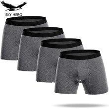 מתאגרפים ארוך גברים בוקסר Boxershorts כותנה Homme תחתוני Mens מתאגרפים Cuecas Calzoncillos תחתוני תחתוני זכר לאיש Jdren