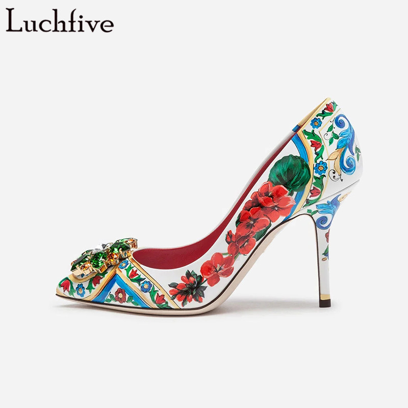 Luchfive Crystal Flower Colorful Printing Single Shoes Women Sheepskin slip On Pointed Toe 10 cm 2019