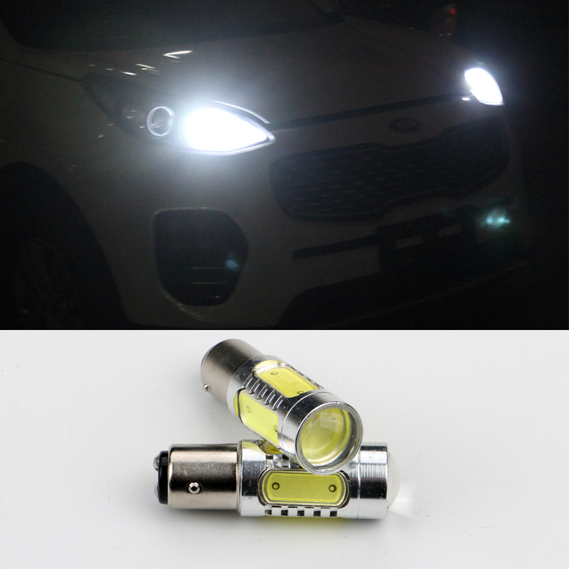 2 X 1157 LED P21W Car LED Auto Lamp 12V Light bulbs with Projector Lens For Kia Sportage 2016 2017 2 x t10 led w5w canbus car side parking light bulbs with projector lens for mercedes benz c250 c300 e350 e550 ml550 r320 r350