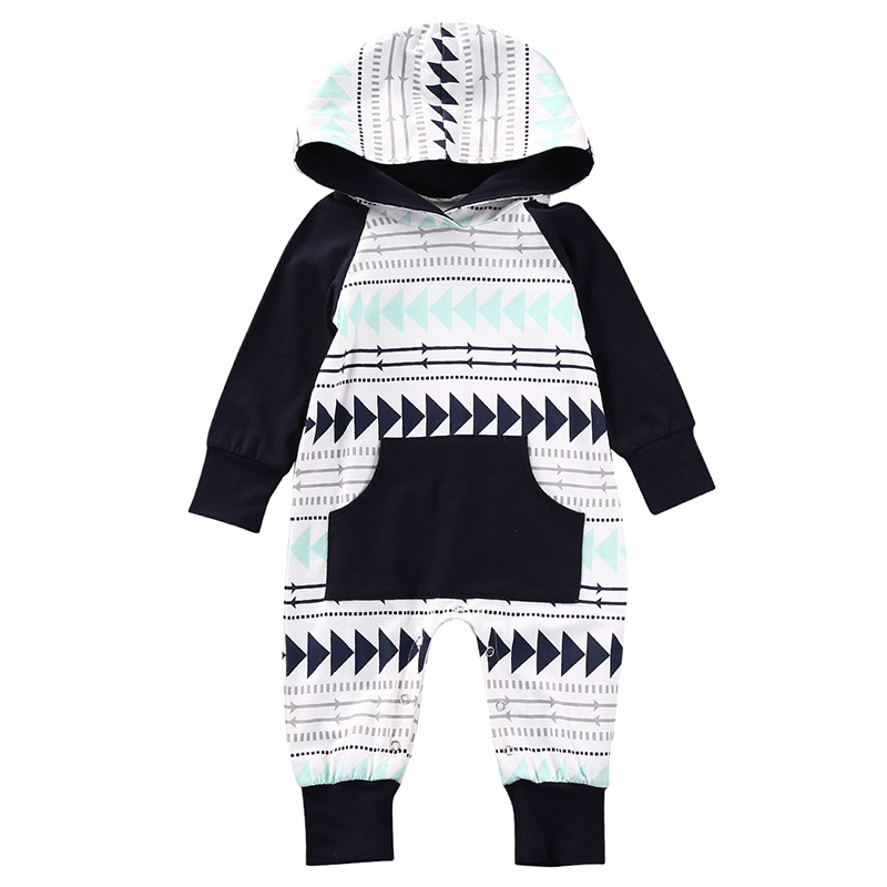 0-24M Newborn Infant Baby Boy Girl Clothes Warm Long Sleeve Hooded Romper Fashion Bebes Suit Pocket One Pieces Outfit Clothing 2017 hot newborn infant baby boy girl clothes love heart bodysuit romper pant hat 3pcs outfit autumn suit clothing set