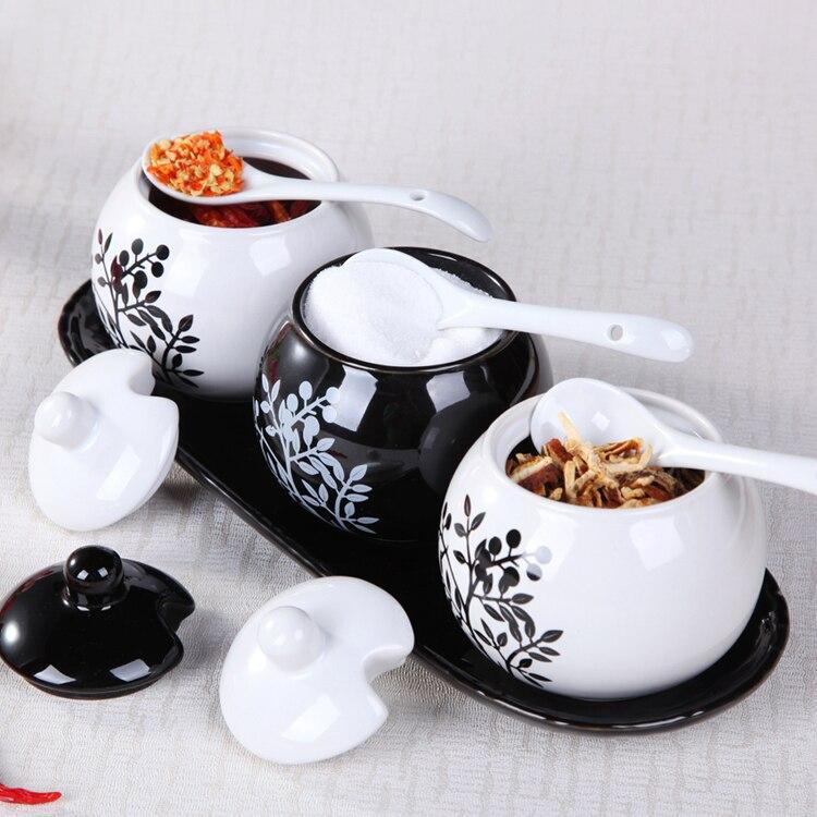 Belle bouteille d'assaisonnement en céramique 3 pièces/ensemble pot à épices noir et blanc sauce pot fournitures de cuisine conteneur de stockage réservoir