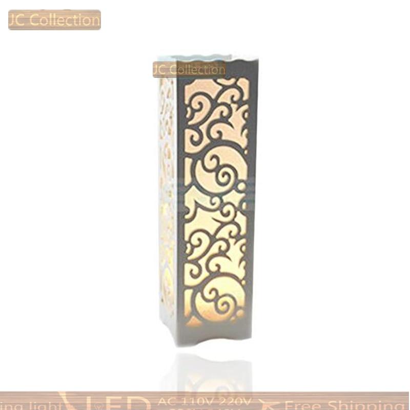 Sinple Table Lamp Wood Plastic Rustic Style Living Room Bedroom Decor Lighting Modern Lampshade E14 E27