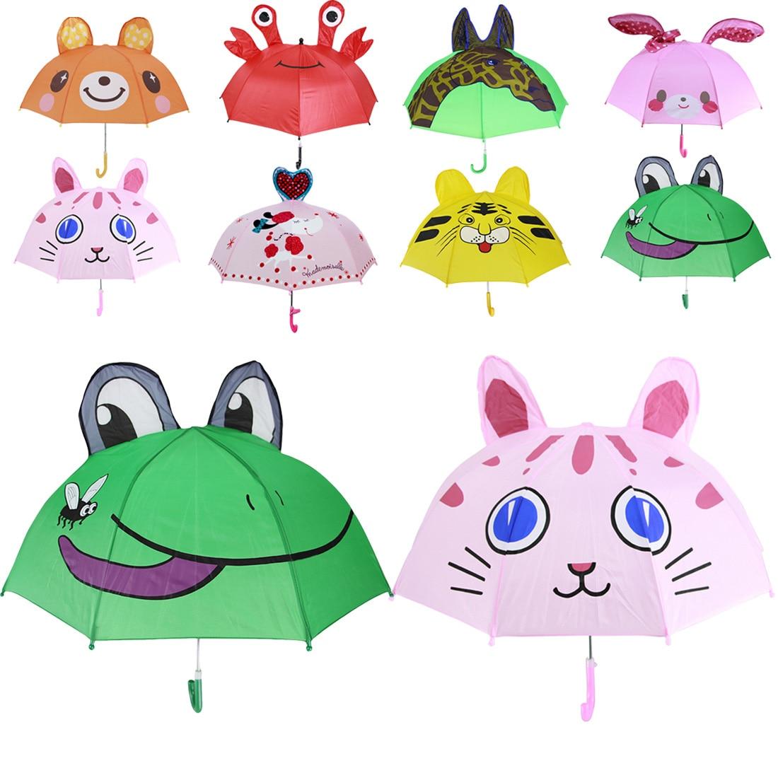 Child 3DCartoon Pop-up Ear Dome Umbrellas Brolly Kids Tiger/&Monkey Rain Umbrella