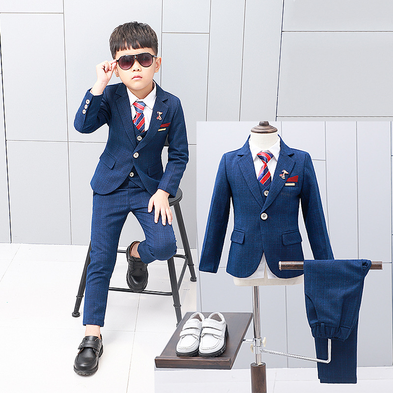 New children's suits &blazer for boys tuxedo Blue plaid flower boy formal suit jackets Baby birthday party costume kids blazers 5pcs winter kids boys suits blazers thicker warm plus children suit boy blue plaid blazer party clothes wedding suits for boys