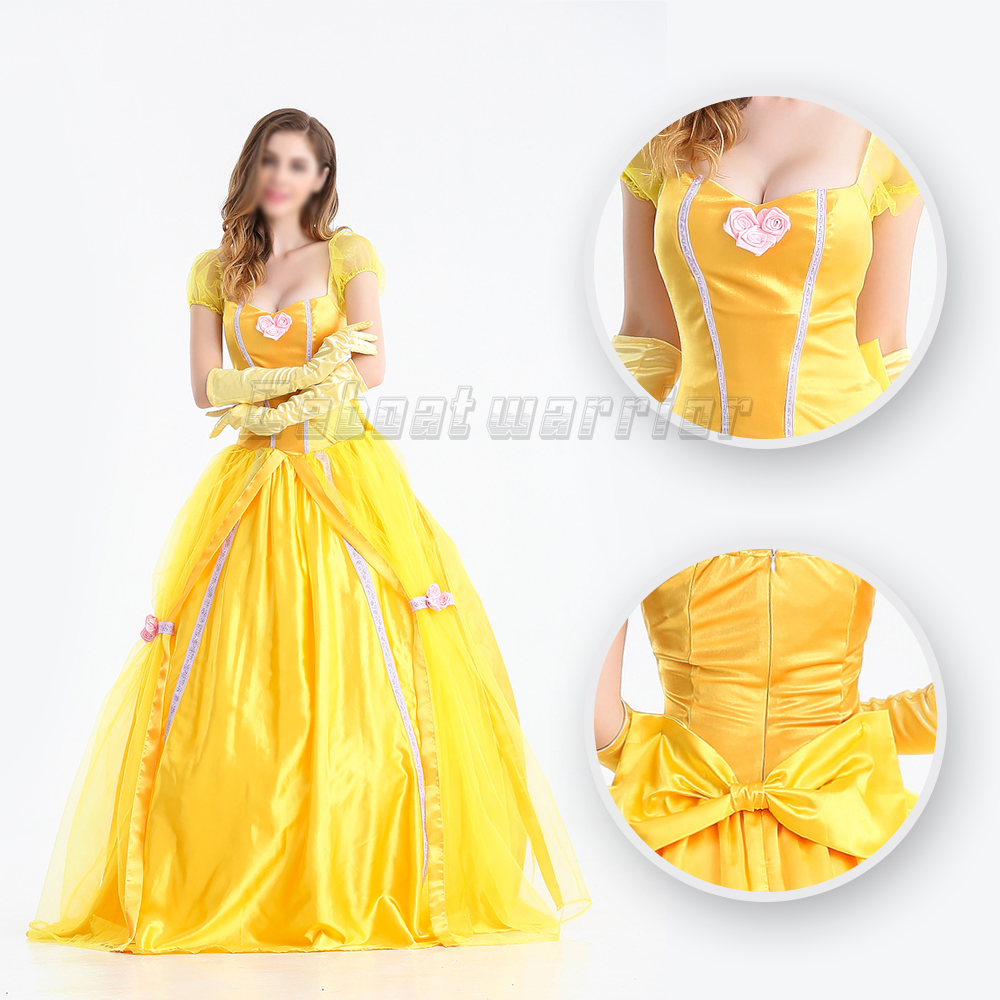Beauty And The Beast Movie Adult Princess Belle cosplay Costume Yellow Long Dress adult women