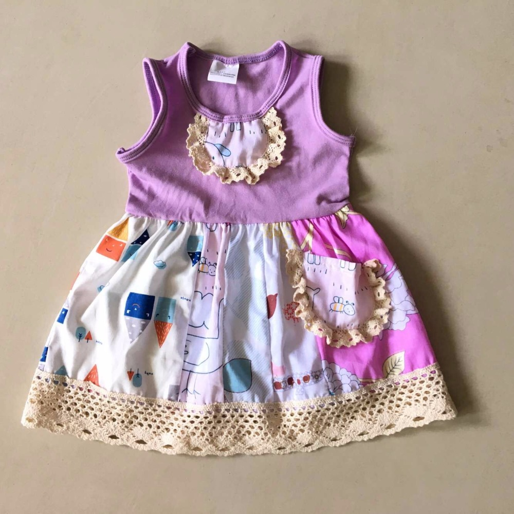 With a pocket 100%cotton Light print Summer style with Ruffles trim and sleeveless Baby Girls Dress with a Bib Apparel Accessory scallop trim cami dress