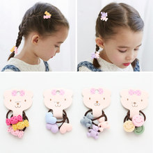 LNRRABC Smile Face New Arrival Bears 3PCS/Pack 6 Models 2018 Hair Ropes Flowers Cute Elastic Hair Bands Drop Shipping(China)