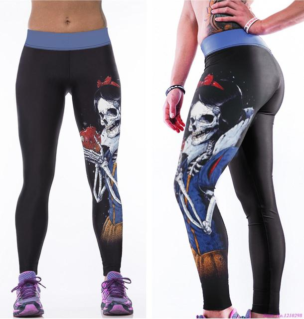 7fb35b8c60654 Skull Wicked Queen Sports Yoga Pants Snow White Slimming Exercise Tights  Women Fitness Running Trousers Gym High Waist Leggings