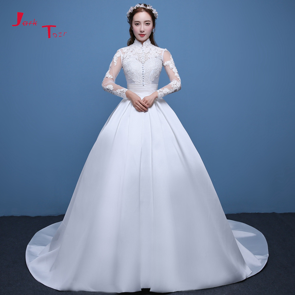 Jark Tozr 100% Real Picture Appliques Buttons Waist Full Sleeve France Satin Ball Gown Wedding Dress 2018 Robe De Mariage