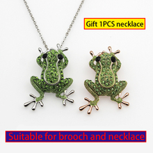 2019 Spoof Hyperbole Bright Green Rhinestone Frog Animal Brooches For Women Men Unisex Creative cartoon