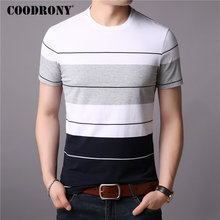 COODRONY T Shirt Men Short Sleeve T-Shirt Striped Cotton Top 2019 Summer New StreetWear Casual O-Neck Tee Homme S95009