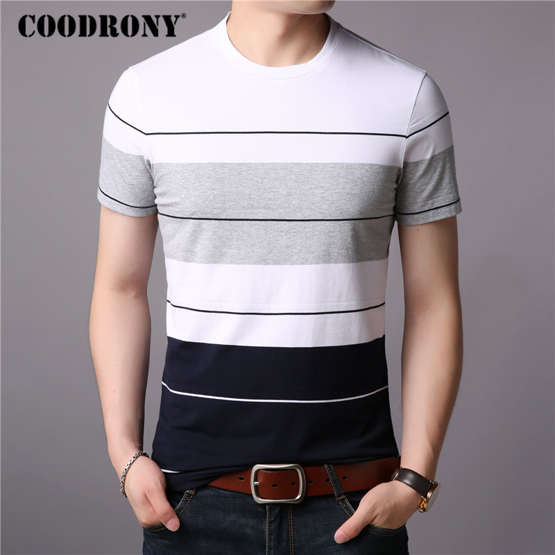 COODRONY   T     Shirt   Men Short Sleeve   T  -  Shirt   Men Striped Cotton Top 2019 Summer New StreetWear Casual O-Neck Tee   Shirt   Homme S95009