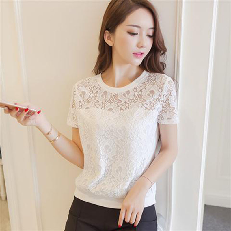 Women Spring Summer Style Lace Blouses Shirts Lady Casual Short Sleeve White Lace Blusas Tops DF2713