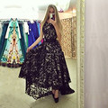 Black Lace Alta Baixa Vestido Prom para a 8ª série Longa Vestidos com Sash Frente Curta Tempo de Volta do regresso a casa Vestido de Renda