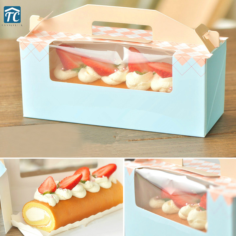 5pcs Cake Box Packaging Wedding Favor Gift Christmas Candy Party Cake Dessert Paper Wrap Portable Cake Roll Boxs Storage