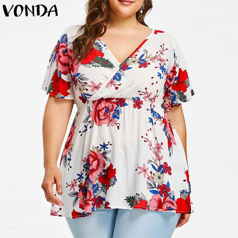 Fashion Women Blouse 2018 Summer Plus Size Shirts Sexy V Neck Short Sleeve High Waist Casual Loose Floral Printed Tee Tops