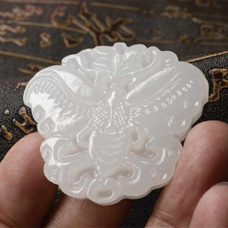 Pierre naturelle suet pierre blanche, grade A en Afghanistan pierre sculptée exquise pendentif papillon pendentif en pierre