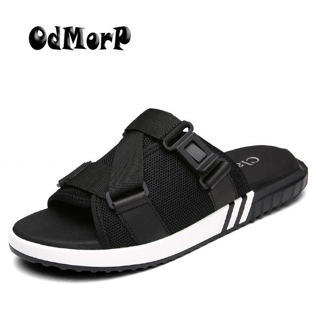 16e11b83c02063 ODMORP Plus Größe 39-47 Männer Sandalen Mode Sommer Schuhe Männer Hausschuhe  Atmungsaktives Mesh männer