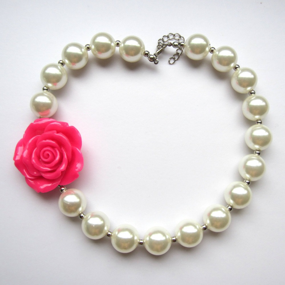 Girls Rose Flower Pearl Necklace Baby Birthday Dress Up Gifts Hand Made Toddler Chunky Bubblegum Necklace Jewelry Accesories