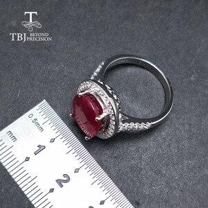 Image 4 - TBJ, elegancki pierścionek zaręczynowy z naturalny rubin w 925 sterling silver gemstone jewelr dla kobiet jako ślub walentynki, prezent