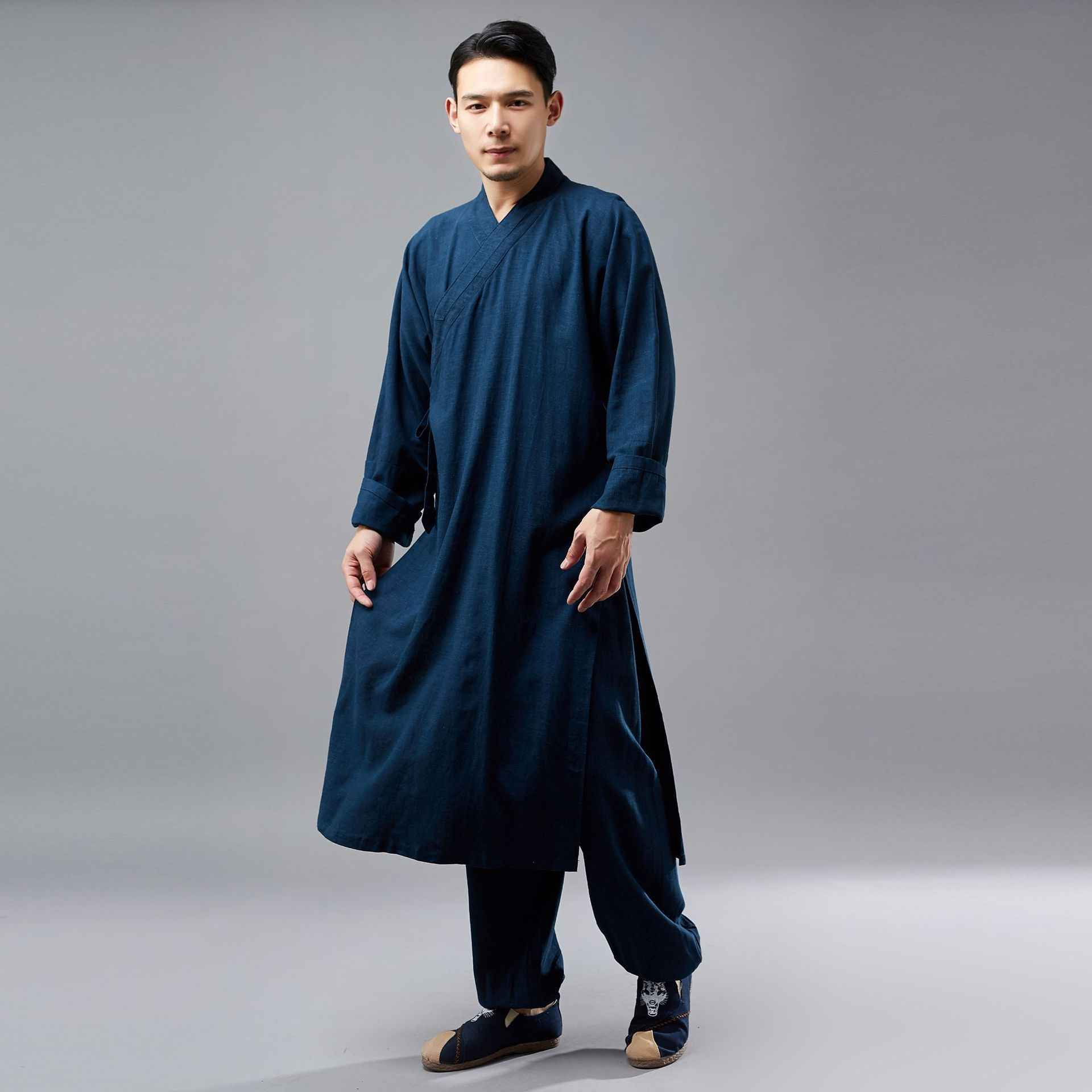 4baee048c2f ... Traditional chinese clothing for men new style Linen vintage robe  pubilc of China buddhist clothing Chinoiserie ...