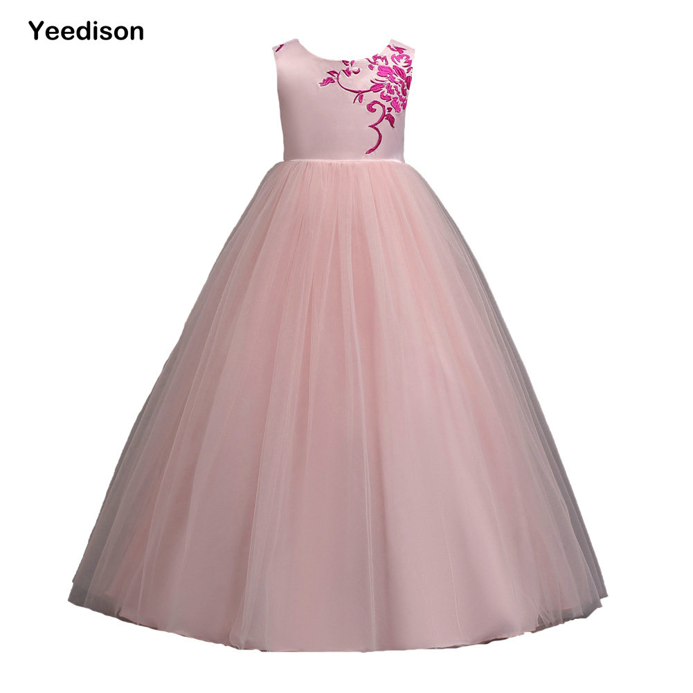 Yeedison Girls Clothes Flower Embroidery Girls Dress Princess Wedding High Quality Sleeveless Long Elegant Party Kids Dresses