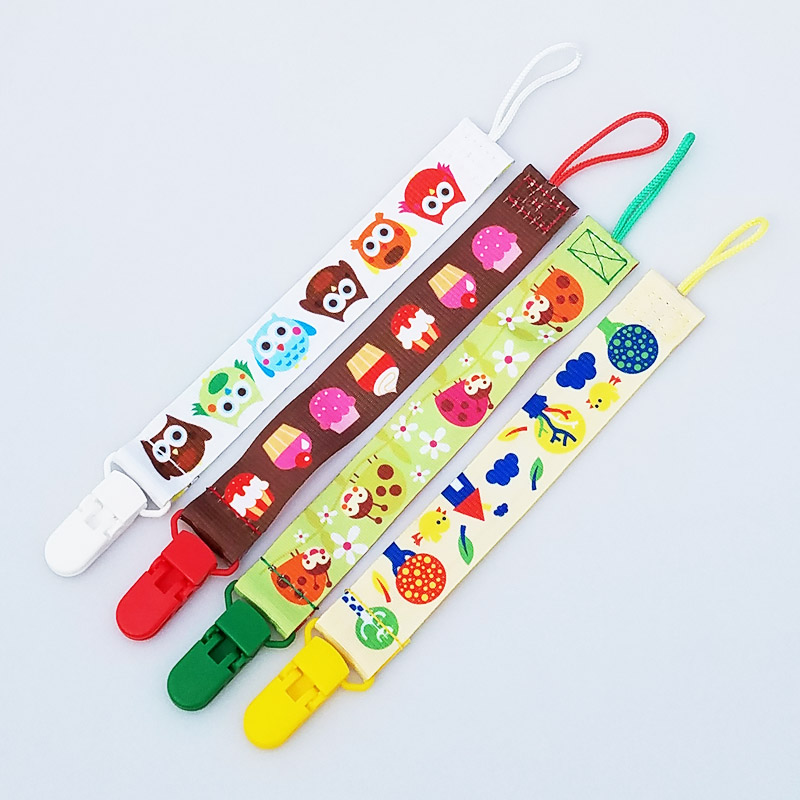 Cute Cartoon Print Baby Pacifier Clip Chain Ribbon Holder Leash Strap Nipple Holder For Infant Feeding
